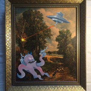 Alien Invasion 1  Acrylic on Constable reproduction, 2016