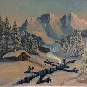 Snowy Meep Meep  Acrylic on found oil painting, 2017